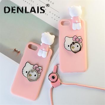 For Samsung Galaxy A8 2018 Case Cute 3D Pink Hello Kitty Cat Skin Cover Silicon Holder Phone Case For Samsung A8 Plus 2018 Case