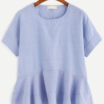 Blue Vertical Striped Ruffle Hem Blouse | MakeMeChic.COM