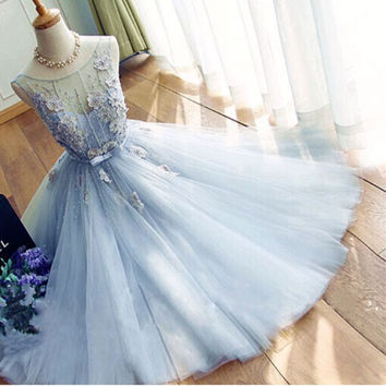 Light Blue A Line Sheer See Through O neck Sleeveless Tulle Prom Dress Real Photo Pearls Custom Short Prom Dresses With Flowers