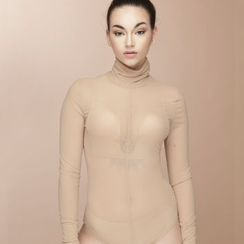 REZY SHEER BODYSUIT - NUDE