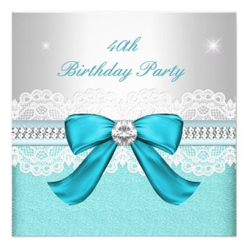 Teal Silver Diamond 40th Birthday Party 5.25x5.25 Square Paper Invitation Card