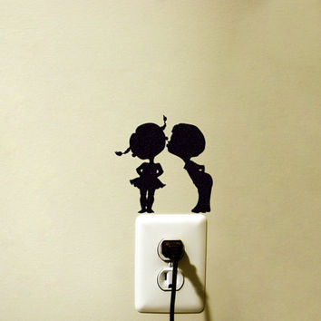 Boy Kissing Girl Fabric Decal - Teen Girl Room Decor - Couple Silhouette Laptop Decal - Retro iPad Sticker - Door Decal - Kids Wall Sticker