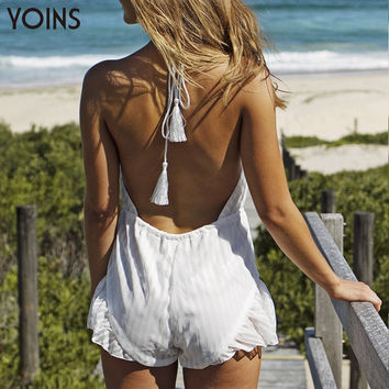 YOINS Summer Sexy Playsuit Halter Neck Deep V-neck Open Back Jumpsuit Sleeveless Backless Short Pants Casual White Romper