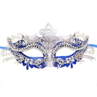 Exclusive Womens Ball Prom Queen Crown Metal Venetian Mask Masquerade (Silver/Blue)