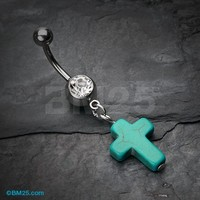 Turquoise Cross Belly Button Ring