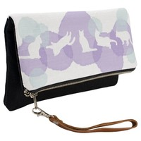 Cats Blue Violet Watercolor Effect Abstract Modern Clutch