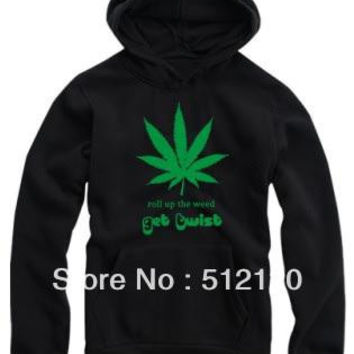 Free Shipping bigbang hip hop hoodies fashion leaf print hoodie roll up the weed pullover for spring/autumn/winter fleece hoodies 8 color