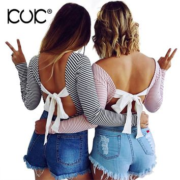 Kuk Body Femme Sexy Bodysuit Women Black Pink Striped Jumpsuit Hippie Chic Backless Beach Tunic Ladies Overalls Body Mujer A807