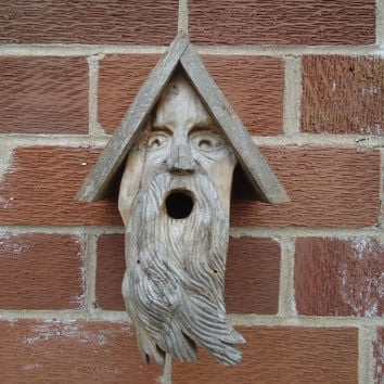 Old man face birdhouse - Garden decor - Wooden birdhouse - Weathered wood birdhouse - Birdhouse face - Rustic birdhouse - Rustic decor - Art