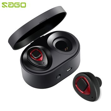 Sago K5S TWS Bluetooth 4.1 Earphones Dual Mini True Wireless Earbuds Stereo Sound Headset Handsfree with Mic for Mobile Phones