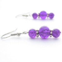 Neon Purple Crackle Glass Earrings by MoonlightShimmer