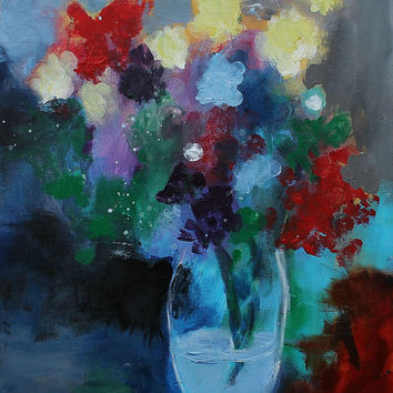 "Still Life Painting, Abstract Floral, Flowers and Vase, Colorful Acrylic Painting ""Colorful Bouquet"""