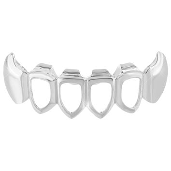 Mens Hip Hop Top Mouth Teeth Grillz Caps 14K White Gold Finish