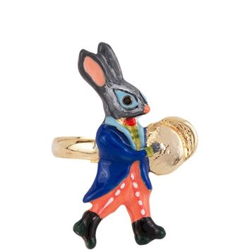N2 by Les Néréides BRASS BAND RABBIT AND CYMBAL ADJUSTABLE RING