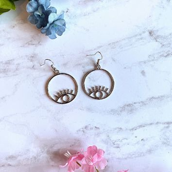 Evil Eye Earrings - Silver Hoop Earrings