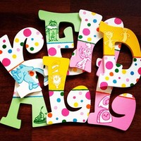 DR SEUSS INSPIRED HAND PAINTED WOOD WALL LETTERS