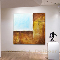 Original Large Square Abstract Painting 48 x 48 white brown Contemporary Art Modern Oil Painting by L.Beiboer FREE Shipping