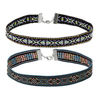 Aztec Patterned Woven Choker - Purple