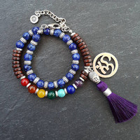 Blue Purple Double Wrap Beaded Chakra Yoga Bracelet - Buddha Tassel Gypsy Jewelry Hippie Bohemian Artisan
