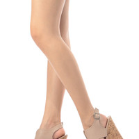 Beige Faux Leather Cut Out Sling Back Cork Wedges