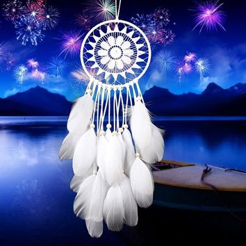 4 Colors White Handmade Lace Dream Catcher Feather Bead Wall Hanging Decoration Ornament For Beauty Home Decor