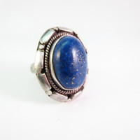Vintage Sterling Silver Lapis Lazuli Ring, Native American Ring, Navajo Ring, Vintage Lapis Lazuli Ring Size 6.5, Christmas Gift