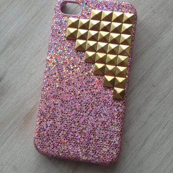 Ready to ship pink sparkle iphone 4 case with gold studs / iphone 4 studded case / iphone 4 protector