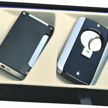 Visol Black Zidane Lighter and Axe Cigar Cutter Gift Set