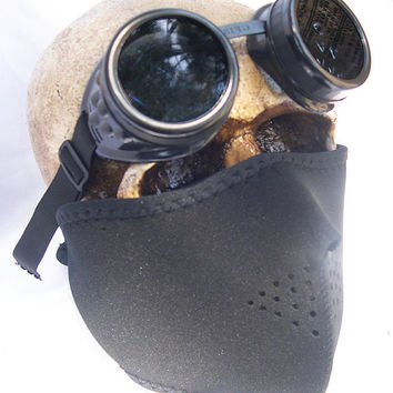 2 pc. set of All Black Neoprene Steampunk Dust Riding Face MASK with Matching GOGGLES - A Burning Man Must Have