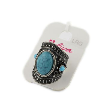 European and American jewelry imitation turquoise ring female ancient silver retro palace rings personalized accessories promotional jewelry summer HI