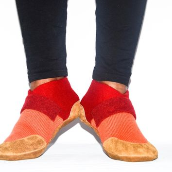 Unisex Cashmere Slippers, Cashmere and Leather Shoes
