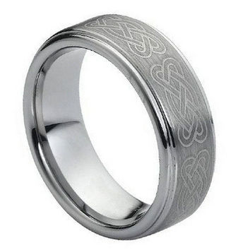 Tungsten Carbide Brush Polished Flat Laser Engraved Wicca Celtic Knot Ring 8MM