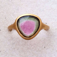 Rose cut watermelon tourmaline and solid 22k gold ring