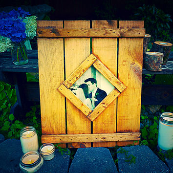 Diamond Shaped Reclaimed Wood Picture Frame