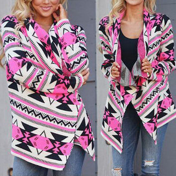 FASHION PRINTING IRREGULAR CARDIGAN COAT