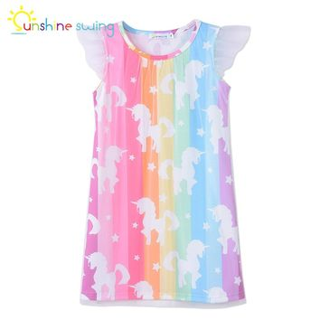 Sunshine Swing Unicorn Party kid Dress for Girls Clothing European and American Style Princess Dress