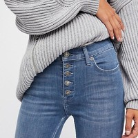 Free People Reagan Button Front Jean - Blue