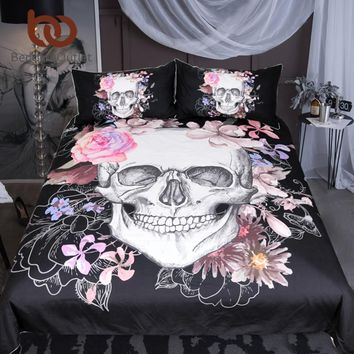 BeddingOutlet Sugar Skull and Floral Duvet Cover Set 3pcs Gothic Bedclothes Flowers Printed Bedding Set Pink And Black Bed Cover
