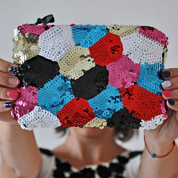 Colorful Sequin Purse, Sequin Evening Clutch