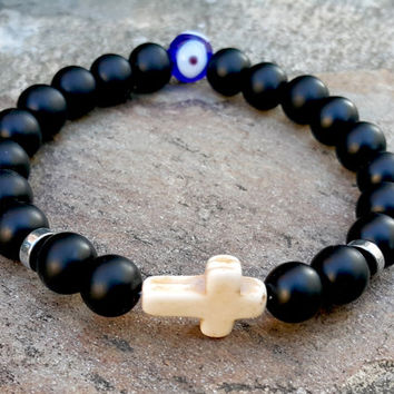 Protection Cross & Calming Handpainted Evil Eye Gemstone Beaded Unisex Bracelet, Prayer Beads Black Onyx White Turquoise Cross, Good Fortune