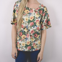 Vintage Floral Boxy Patterned T shirt Blouse