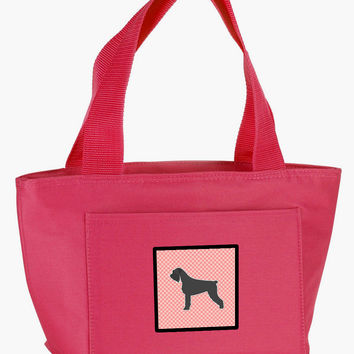 Giant Schnauzer Checkerboard Pink Lunch Bag BB3673PK-8808