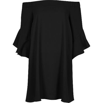 Black bardot bell sleeve swing dress