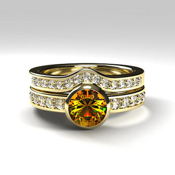 Citrine engagement ring set with curved diamond band, yellow gold ring, citrine solitaire, bezel, half eternity, yellow gemstone, unique