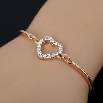 Fashion Jewelry Cute Gold Crystal Rhinestone Love Heart Charm Chain Bracelet + Gift Box