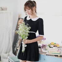 Slim sweet doll collar chiffon pleated dress