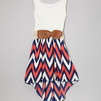 Coral Zigzag Belted Hi-Low Dress - Girls | zulily