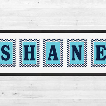Personalized Nursery Letters, Custom Decor Prints, Navy Letters on Blue with Chevron, Boy Name Prints, Custom Name Art, Nursery Decor, 8x10