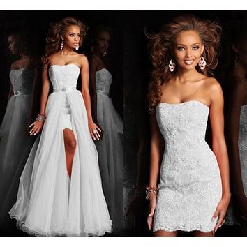 New Design High Low Short Strapless Pure White Wedding Dress Bridal Gown With Detachable removeable Skirt crystal lace squins