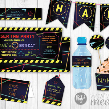 Laser Tag Party Package Invitations Birthday Tickets Invitations Decorations Full Printable Collection INSTANT DOWNLOAD Editable Personalize